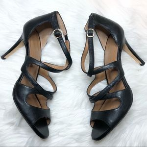 Banana Republic black leather strappy heels
